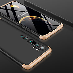 Hard Rigid Plastic Matte Finish Front and Back Cover Case 360 Degrees P01 for Xiaomi Mi Note 10 Pro Gold and Black
