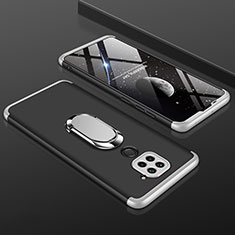 Hard Rigid Plastic Matte Finish Front and Back Cover Case 360 Degrees P01 for Xiaomi Redmi Note 9 Silver and Black