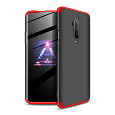 Hard Rigid Plastic Matte Finish Front and Back Cover Case 360 Degrees P02 for OnePlus 7T Pro Red and Black