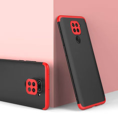 Hard Rigid Plastic Matte Finish Front and Back Cover Case 360 Degrees P02 for Xiaomi Redmi Note 9 Red and Black