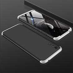 Hard Rigid Plastic Matte Finish Front and Back Cover Case 360 Degrees P03 for Xiaomi Redmi 9A Silver and Black