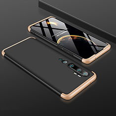 Hard Rigid Plastic Matte Finish Front and Back Cover Case 360 Degrees R01 for Xiaomi Mi Note 10 Gold and Black