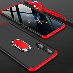 Hard Rigid Plastic Matte Finish Front and Back Cover Case 360 Degrees with Finger Ring Stand for Huawei Honor 20 Red and Black