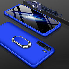 Hard Rigid Plastic Matte Finish Front and Back Cover Case 360 Degrees with Finger Ring Stand for Oppo A91 Blue