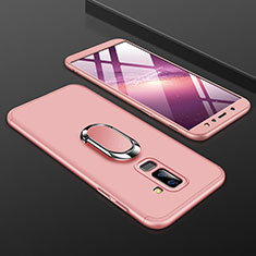 Hard Rigid Plastic Matte Finish Front and Back Cover Case 360 Degrees with Finger Ring Stand for Samsung Galaxy A6 Plus Pink