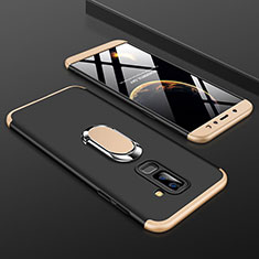 Hard Rigid Plastic Matte Finish Front and Back Cover Case 360 Degrees with Finger Ring Stand for Samsung Galaxy A9 Star Lite Gold and Black