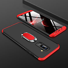 Hard Rigid Plastic Matte Finish Front and Back Cover Case 360 Degrees with Finger Ring Stand for Samsung Galaxy A9 Star Lite Red and Black