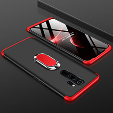 Hard Rigid Plastic Matte Finish Front and Back Cover Case 360 Degrees with Finger Ring Stand for Xiaomi Redmi Note 8 Pro Red and Black