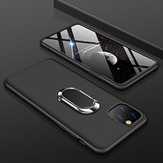 Hard Rigid Plastic Matte Finish Front and Back Cover Case 360 Degrees with Finger Ring Stand R01 for Apple iPhone 11 Pro Black