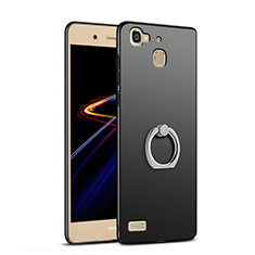 Hard Rigid Plastic Matte Finish Snap On Case with Finger Ring Stand A03 for Huawei G8 Mini Black