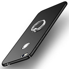 Hard Rigid Plastic Matte Finish Snap On Case with Finger Ring Stand A03 for Huawei GR3 (2017) Black