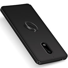 Hard Rigid Plastic Matte Finish Snap On Case with Finger Ring Stand for Nokia 6 Black