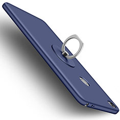 Hard Rigid Plastic Matte Finish Snap On Case with Finger Ring Stand for Xiaomi Mi Max Blue