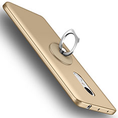 Hard Rigid Plastic Matte Finish Snap On Case with Finger Ring Stand for Xiaomi Redmi Note 4X High Edition Gold