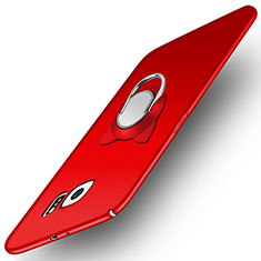 Hard Rigid Plastic Matte Finish Snap On Case with Magnetic Finger Ring Stand for Samsung Galaxy S6 SM-G920 Red