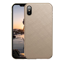 Hard Rigid Plastic Matte Finish Twill Cover for Apple iPhone Xs Max Gold
