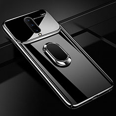 Hard Rigid Plastic Mirror Cover Case 360 Degrees Magnetic Finger Ring Stand for OnePlus 7 Pro Black