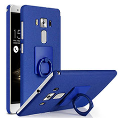 Hard Rigid Plastic Quicksand Cover with Finger Ring Stand for Asus Zenfone 3 Deluxe ZS570KL ZS550ML Blue