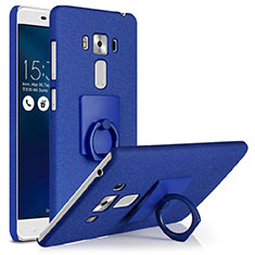 Hard Rigid Plastic Quicksand Cover with Finger Ring Stand for Asus Zenfone 3 Laser Blue