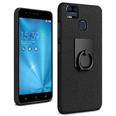 Hard Rigid Plastic Quicksand Cover with Finger Ring Stand for Asus Zenfone 3 Zoom Black