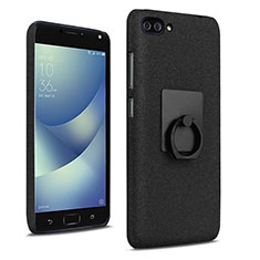 Hard Rigid Plastic Quicksand Cover with Finger Ring Stand for Asus Zenfone 4 Max ZC554KL Black