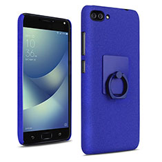 Hard Rigid Plastic Quicksand Cover with Finger Ring Stand for Asus Zenfone 4 Max ZC554KL Blue