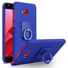 Hard Rigid Plastic Quicksand Cover with Finger Ring Stand for Asus Zenfone 4 Selfie Pro Blue
