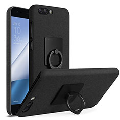Hard Rigid Plastic Quicksand Cover with Finger Ring Stand for Asus Zenfone 4 ZE554KL Black