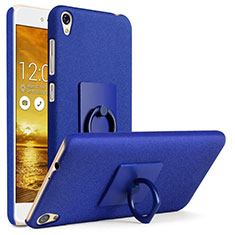 Hard Rigid Plastic Quicksand Cover with Finger Ring Stand for Asus Zenfone Live ZB501KL Blue