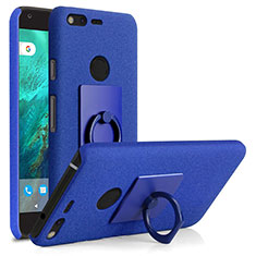 Hard Rigid Plastic Quicksand Cover with Finger Ring Stand for Google Pixel XL Blue