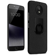 Hard Rigid Plastic Quicksand Cover with Finger Ring Stand for Motorola Moto G5S Black