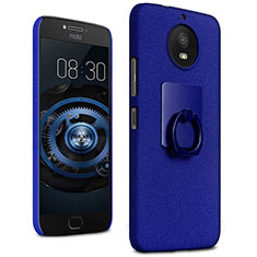 Hard Rigid Plastic Quicksand Cover with Finger Ring Stand for Motorola Moto G5S Blue