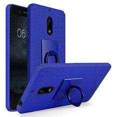 Hard Rigid Plastic Quicksand Cover with Finger Ring Stand for Nokia 6 Blue