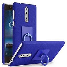 Hard Rigid Plastic Quicksand Cover with Finger Ring Stand for Nokia 8 Blue