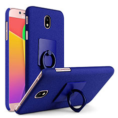 Hard Rigid Plastic Quicksand Cover with Finger Ring Stand for Samsung Galaxy J7 Pro Blue