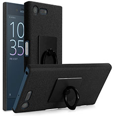 Hard Rigid Plastic Quicksand Cover with Finger Ring Stand for Sony Xperia X Compact Black