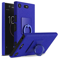 Hard Rigid Plastic Quicksand Cover with Finger Ring Stand for Sony Xperia XZ1 Compact Blue
