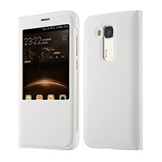 Leather Case Flip Cover for Huawei G7 Plus White