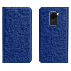 Leather Case Stands Flip Cover C04 Holder for Xiaomi Redmi Note 9 Blue