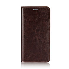 Leather Case Stands Flip Cover F01 for Apple iPhone Xs Brown