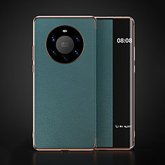 Leather Case Stands Flip Cover F03 Holder for Huawei Mate 40 Pro+ Plus Cyan