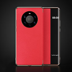 Leather Case Stands Flip Cover F03 Holder for Huawei Mate 40 Pro+ Plus Red