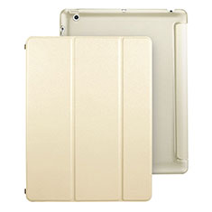 Leather Case Stands Flip Cover for Apple iPad 4 Gold