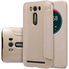Leather Case Stands Flip Cover for Asus Zenfone 2 Laser 6.0 ZE601KL Gold