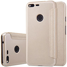 Leather Case Stands Flip Cover for Google Pixel Gold