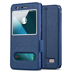 Leather Case Stands Flip Cover for Huawei G Play Mini Blue