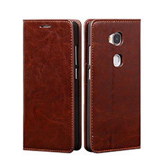 Leather Case Stands Flip Cover for Huawei GR5 Brown