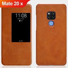 Leather Case Stands Flip Cover for Huawei Mate 20 X 5G Brown
