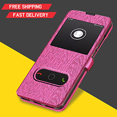 Leather Case Stands Flip Cover for Huawei Y6 (2019) Hot Pink