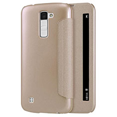 Leather Case Stands Flip Cover for LG K10 Gold
